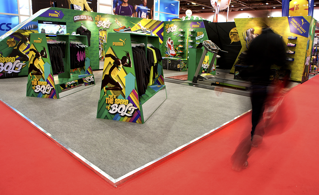 The Graphical Tree printed and installed Puma London Marathon stand with Parrott & Miller