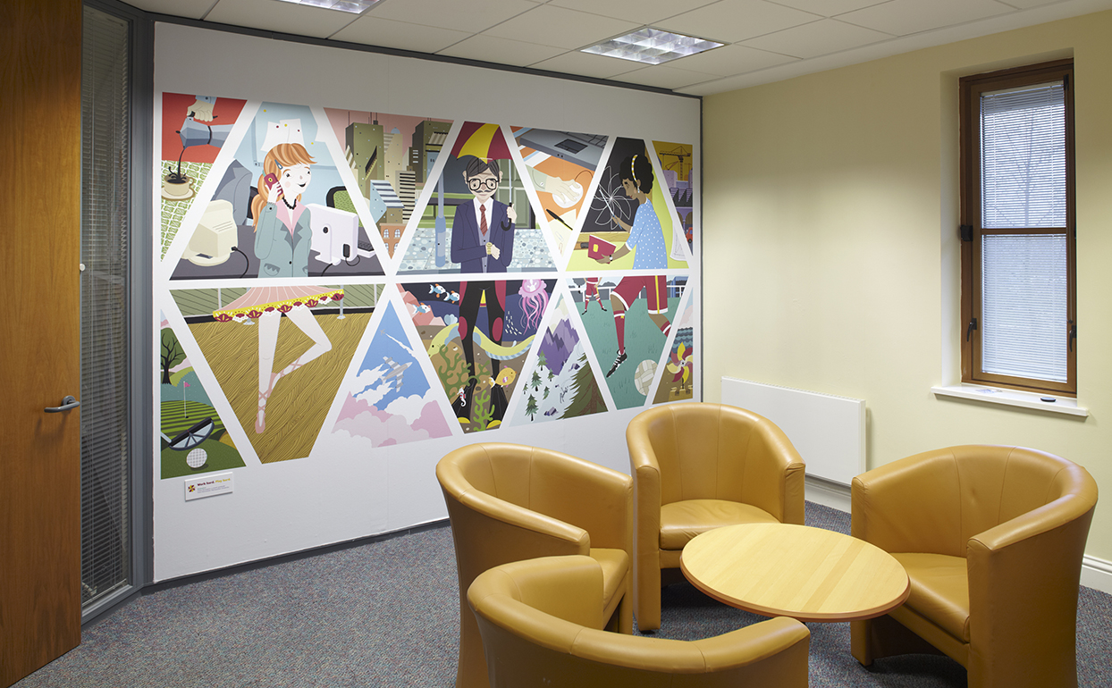 The Graphical Tree Endsleigh Insurance large format office interior graphics print and installation with illustrations by YCN.