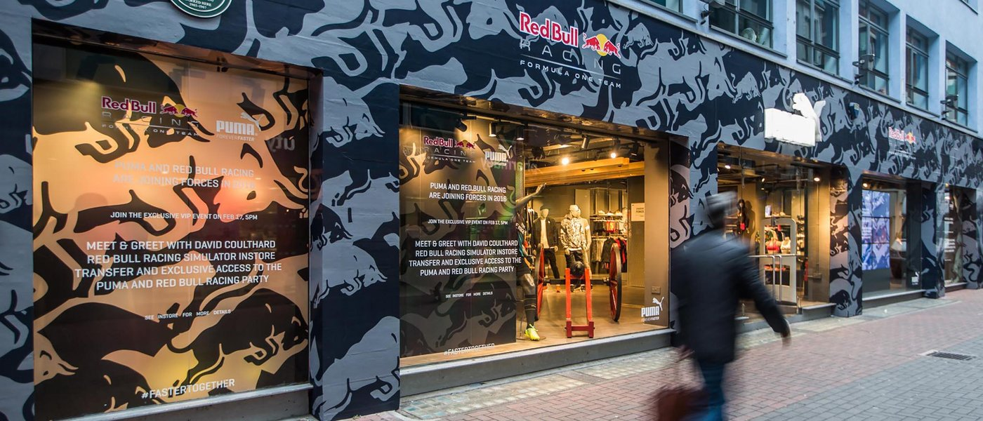 Red Bull Racing Puma store Carnaby Street London printed facade graphics and installation