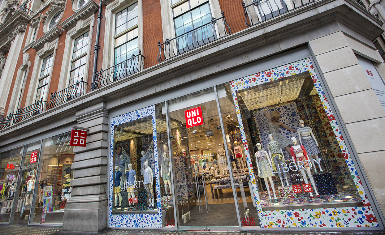 The Graphical Tree Uniqlo UT cut vinyl decals and printed self adhesive window graphics, point of sale, directional signage and installation. Store graphics and point of sale.