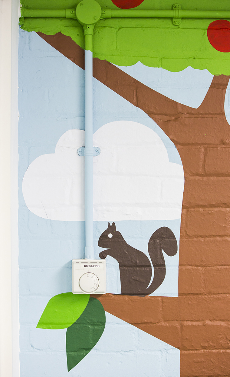 The Graphical Tree Bear Nibbles graphics - printed and cut vinyl to walls and installation London