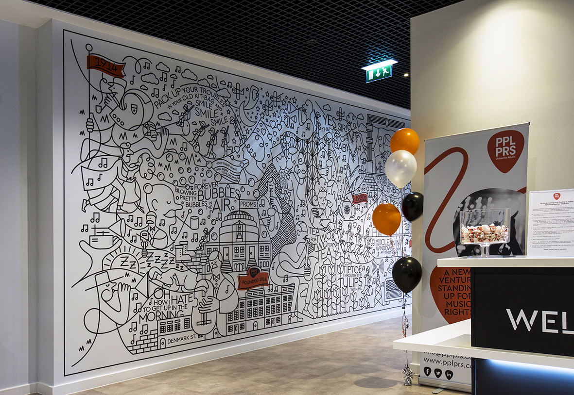 large format graphic on wall in black and white doodle style