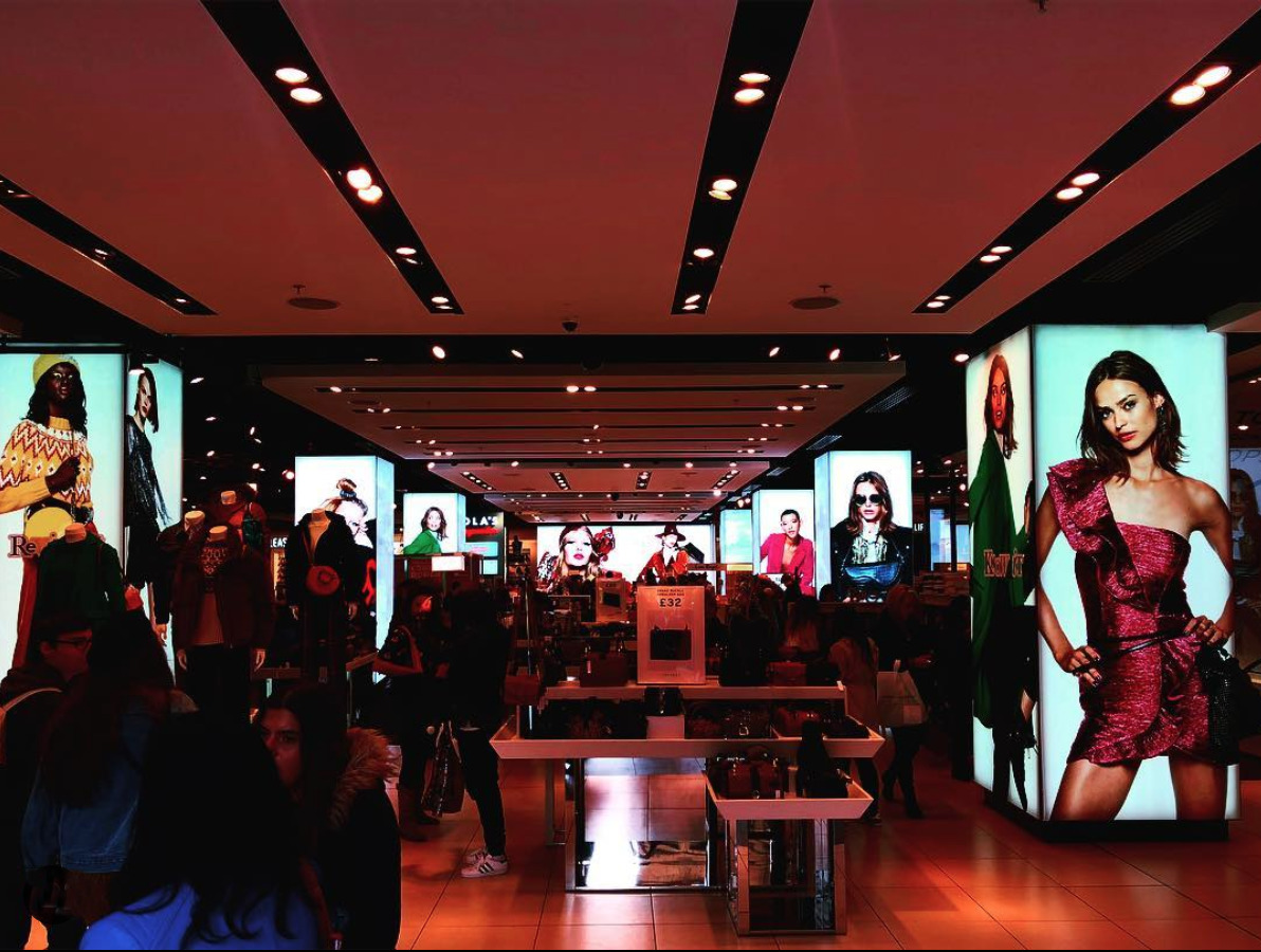 shop display graphics on large lightboxes