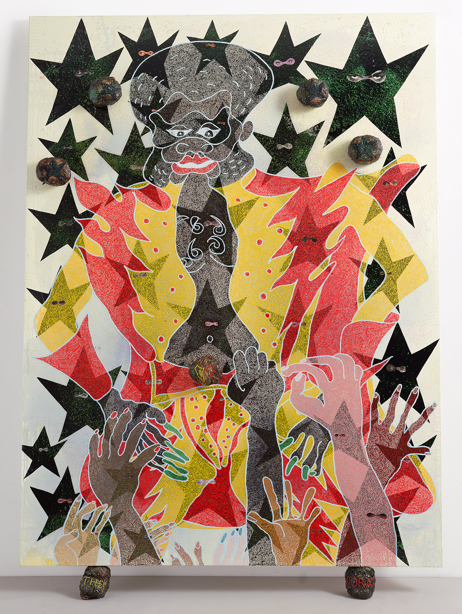 Chris Ofili, The Adoration of Captain Shit and the Legend of the Black Stars (Third Version), 1998.